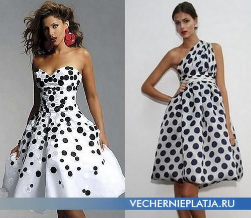 Короткие платья в горошек с пышной юбкой