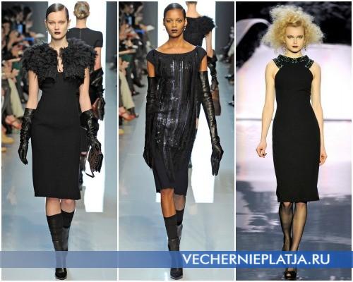 Маленькое черное платье фото – модели коллекций Bottega Veneta (1,2) и Badgley Mischka (3)