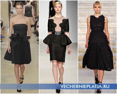 Маленькое черное платье с баской Осень-Зима 2012-2013 от Bouchra Jarrar, David Koma, Antonio Berardi