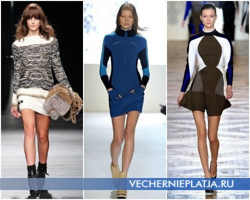 Короткие платья свитера 2012-2013 – на фото модели Iceberg, Lacoste, Stella McCartney