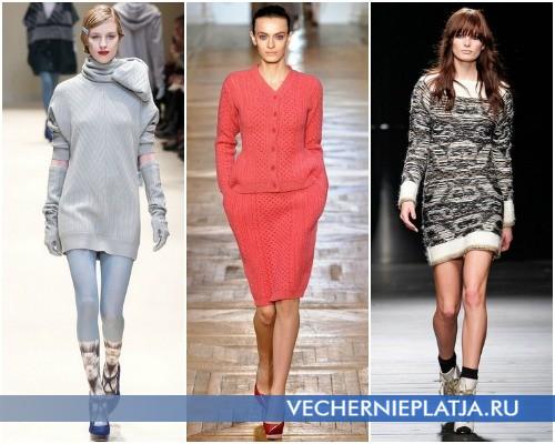 Вязаные платья-свитера Осень-Зима 2012-2013 – на фото модели Cacharel, Stella McCartney, Iceberg