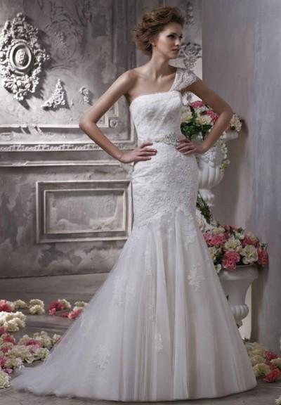 Свадебное кружевное платье годе фото