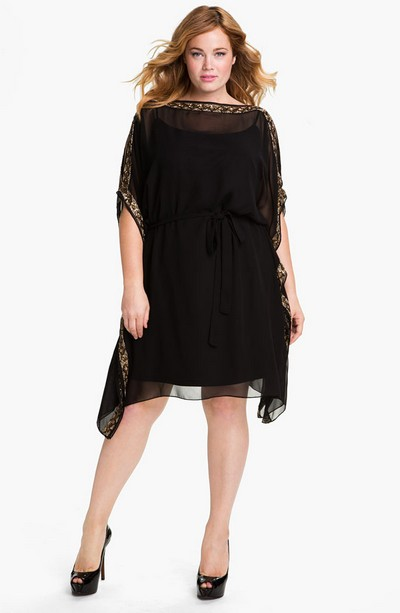 Шифоновое платье черного цвета на полную фигуру от Aidan Mattox фото