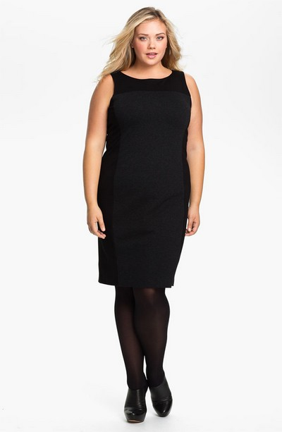 Трикотажное черное платье Eileen Fisher на полную фигуру фото
