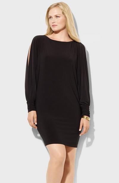Черное платье-туника для полных от Ralph Lauren фото