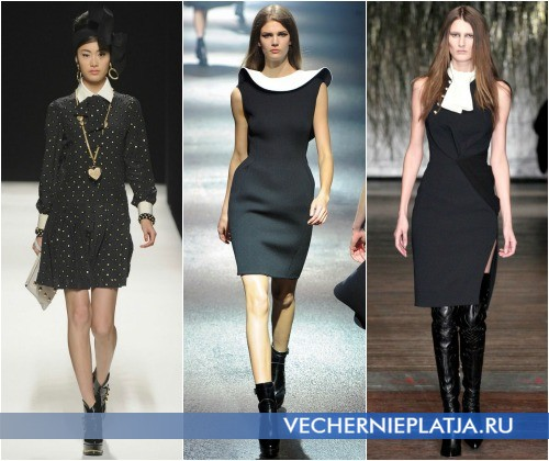 Черное платье с белым воротником – на фото модели Moschino, Lanvin, Altuzarra