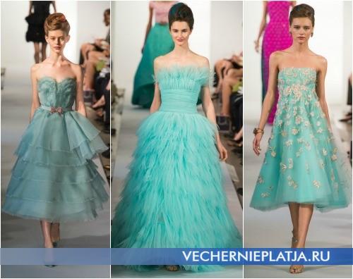Голубые платья на выпускной 2013 фото Oscar de la Renta