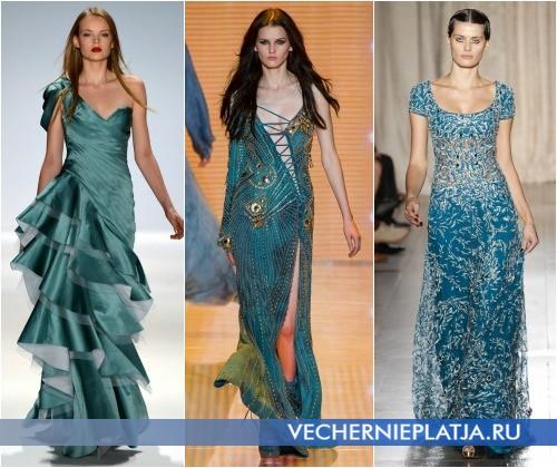 Бирюзовое платье на выпускной 2013 года фото Carlos Miele, Versace, Marchesa