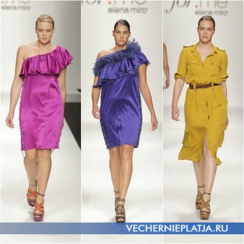 Платья для полных на одно плечо и платье-сафари Elena Miro 2013
