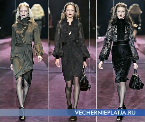 С чем носить шифоновое платье зимой – на фото коллекция Gucci Осень-Зима 2012-2013