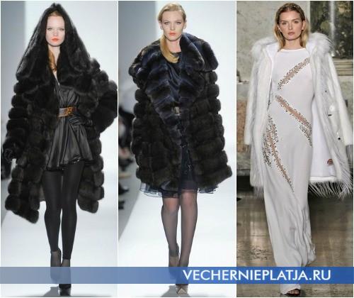 С чем носить вечернее платье зимой – на фото платья с шубами от Dennis Basso и Emilio Pucci