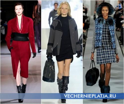С чем модно носить платье зимой 2012-2013 – на фото модели Haider Ackermann, Lacoste и Oscar de la Renta