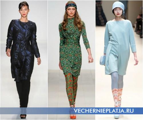 Как модно носить платья с брюками, леггинсами и колготками зимой – на фото модели Farah Angsana, Issa, Cacharel