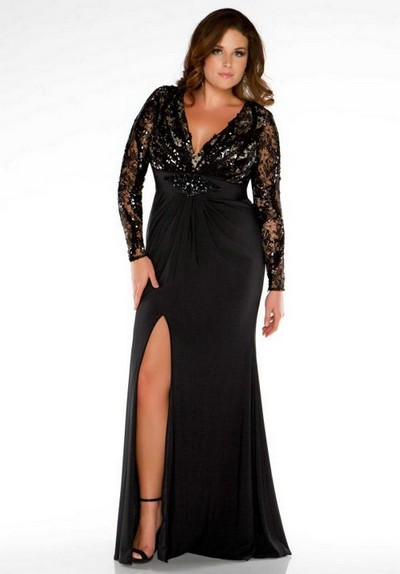 Черное выпускное платье 2013 с разрезом для полных