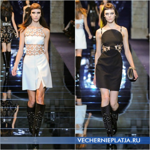 Платья с сетчатыми вставками от Versace