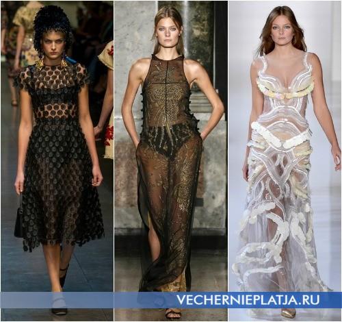 С чем носить прозрачное кружевное платье