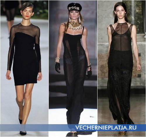 Черное прозрачное платье в коллекциях Akris, Dsquared² и Emilio Pucci