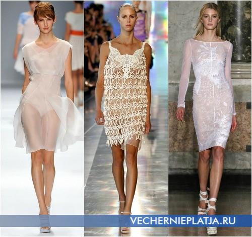 Белые прозрачные кружевные платья