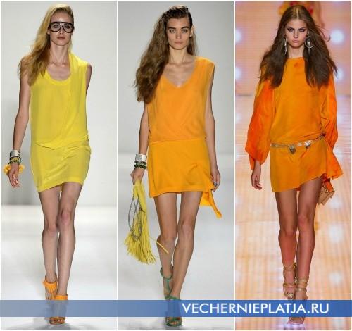 Желтые платья-туники 2013 от Tracy Reese и Versace