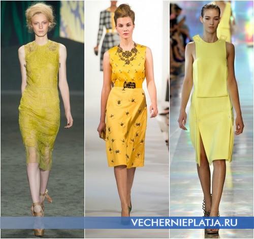 Желтое платье футляр для полных