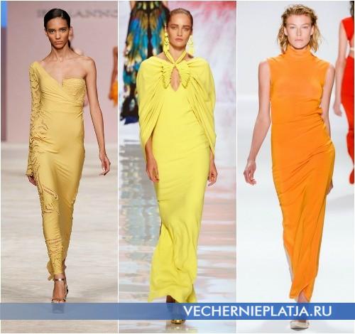 Длинное желтое платье 2013 в коллекциях Ermanno Scervino, Etro и Osklen