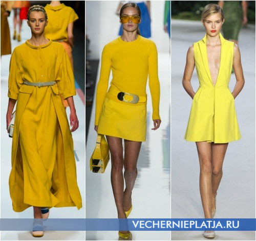 Желтые платья Весна-Лето 2013 от Fendi, Michael Kors, Akris
