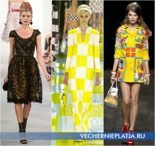 Модели желтых платьев 2013 от Oscar de la Renta, Louis Vuitton, Moschino