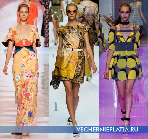 Сочетание желтого цвета на фото платья от Etro, Fendi и Versus