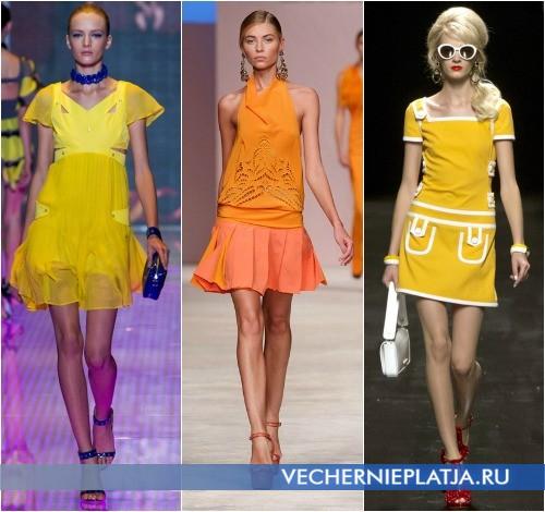 С какими украшениями носить желтое платье, фото моделей Versus, Ermanno Scervino, Moschino