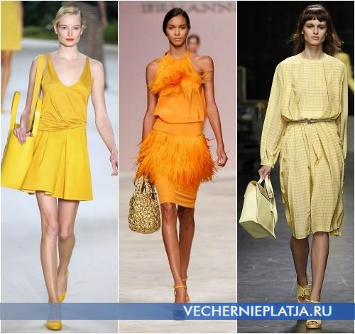 С чем носить желтое платье, на фото модели Akris, Ermanno Scervino, Trussardi 1911