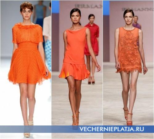 Короткие оранжевые летние платья 2013 от Cacharel и Ermanno Scervino