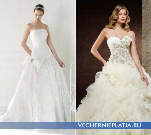 Бант на пышных свадебных платьях фото