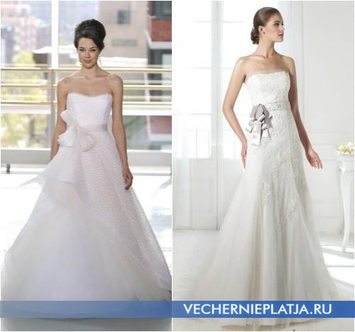 Платья свадебные с бантом фото