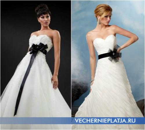 Платье свадебное белое с черным бантом фото