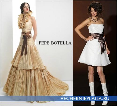 Свадебное платье с коричневым бантом, на фото модели Pepe Botella и Brinkman