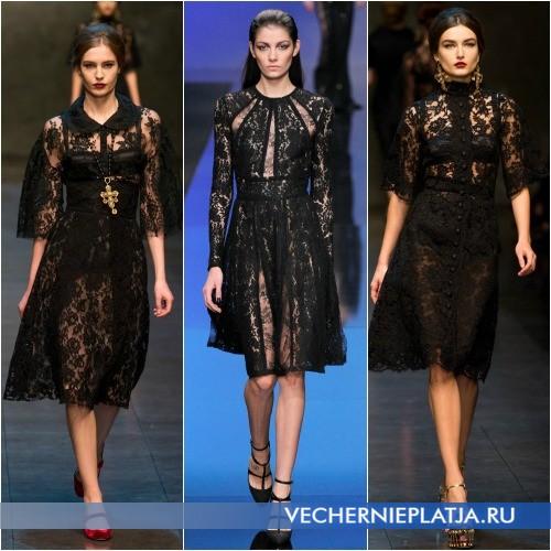 Ажурное черное платье фото