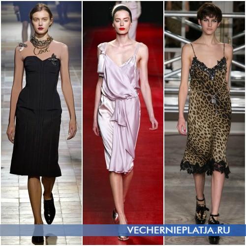 Модные фасоны платьев средней длины