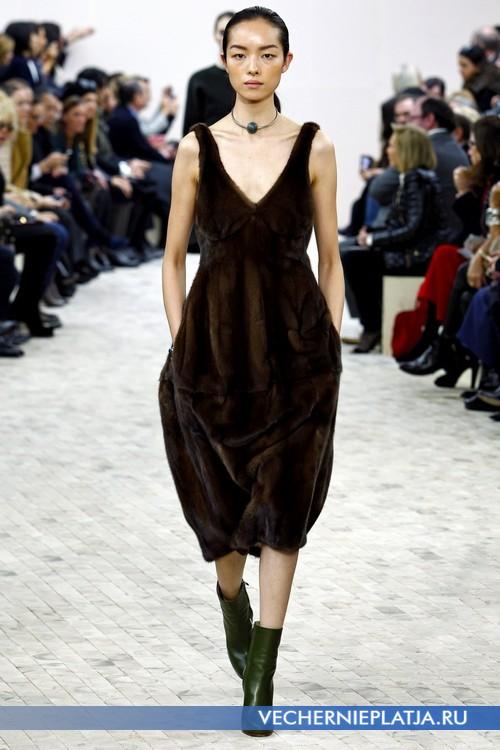 Платье миди из меха от Celine
