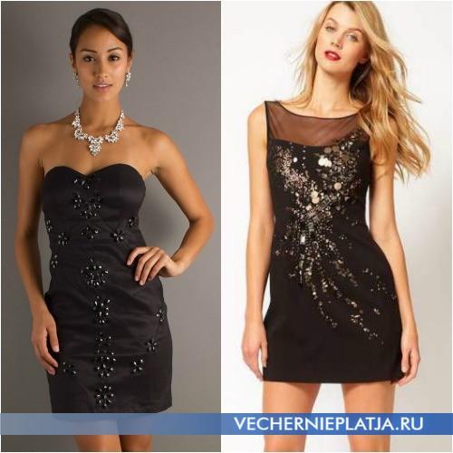 Как украсить черное платье камнями и стеклярусом