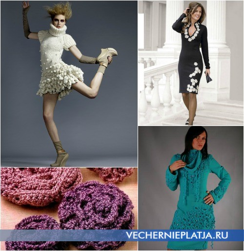 Как можно украсить вязаное платье фото