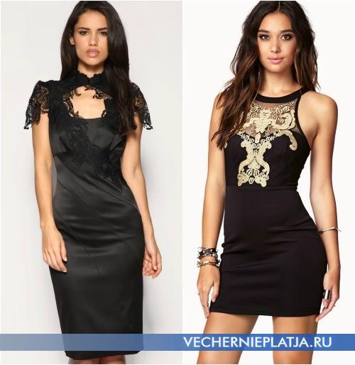 Украшение черного платья кружевом
