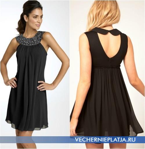 Как украсить горловину черного короткого платья