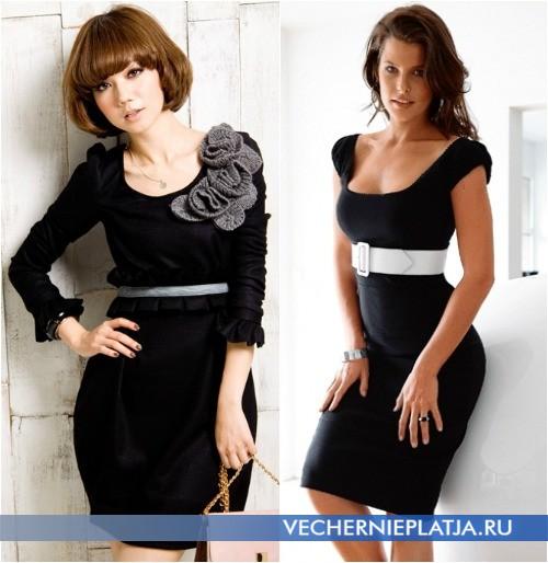 Декор черного платья вязаный цветок и контрастный пояс