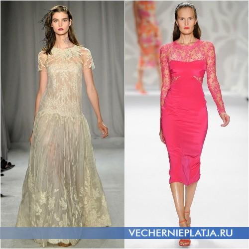 Платья кремовое и розовое из гипюра