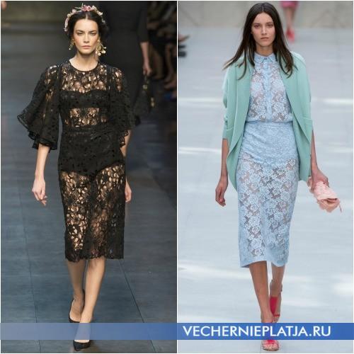Роскошные платья из гипюра модные