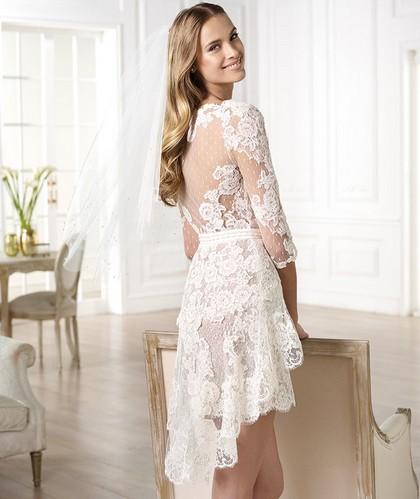 Короткие свадебные платья Pronovias 2014 со шлейфом