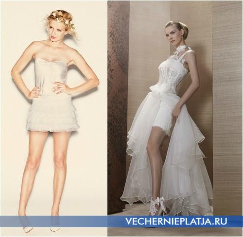 Свадебные короткие платья для высоких и стройных девушек