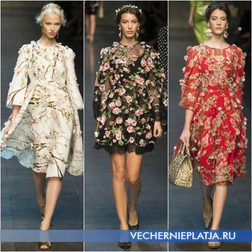 Платья с цветами для весны 2014