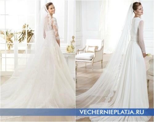 Роскошное платье со шлейфом для венчания в церкви