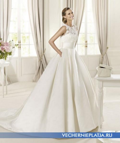 Белое свадебное платье с ажурным верхом фото